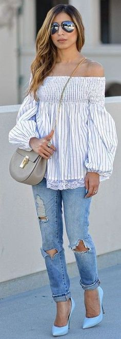 #summer #casualchic #outfits |  Stripe Off The Shoulder Top + Denim