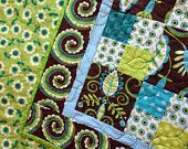 Whimsy Doozie- aqua, green, and brown baby quilt