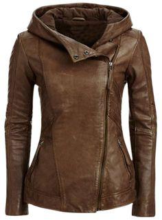 Women's Fashion Oblique Zipper PU Leather Hooded Jacket  http://wholesaleplussize.clothing/