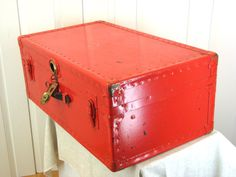 Candy Apple Red Metal Steamer Trunk  Perfect by TheGlossedAndFound