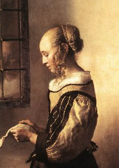 Girl Reading a Letter at an Open Window (detail) by Johannes Vermeer