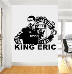 "Football Star ERIC CANTONA ""KING ERIC"" Vinyl Wall Sticker Soccer Player Wall Art Decals 3d Poster Mural Boys Room Decor JW149"