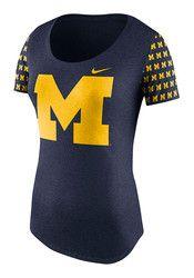 Nike Michigan Womens First String Navy Blue Scoop T-Shirt