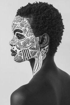 The Sacred Art of the Ori, a Yoruba Ritual. Art by artist Laolu. Tribal Makeup, Art Visage, Tribal Face, Portraits, Foto Art, Afro Punk, Sacred Art, Photomontage, Black Is Beautiful