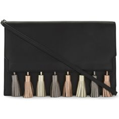 Rebecca Minkoff Sofia leather clutch (£210) ❤ liked on Polyvore featuring bags, handbags, clutches, leather flap handbags, metallic leather handbags, leather tassel handbags, leather clutches and rebecca minkoff handbags