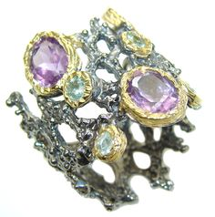 $58.25 Awesome+Purple+Amethyst+Peridot+gold+plated+Sterling+Silver+ring+s.+6 at www.SilverRushStyle.com #ring #handmade #jewelry #silver #amethyst