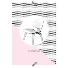 """Poster Cadeira """"Eames LCW""""- Coleção Mercatto Casa e Apto 41"""