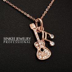 18K Rose Gold Plated Music Guitar Necklace