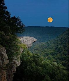 The harvest moon rising behind Hawksbill Crag Upper Buffalo Wilderness Ozark National Forest Pho. #Relax more with healing sounds: