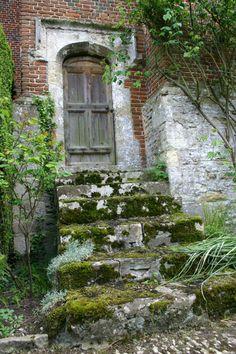 Steps up to door on northwest of Beckley Park manor, Beckley, Oxfordshire, UK
