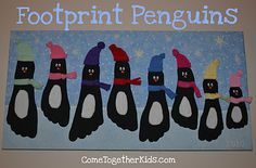 Creative Handprint and Footprint Crafts for Christmas --> Footprint Penguin Wall Hanging Footprint Crafts, Preschool Crafts, Fun Crafts, Crafts For Kids, Snow Crafts, Family Crafts, Craft Activities, Winter Fun, Infant Activities