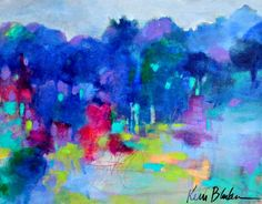 Colorful Abstract Landscape Abstract Trees by kerriblackmanfineart