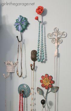 Pretty Wall Hooks as Jewelry Storage in the Bedroom I girlinthegarage.net