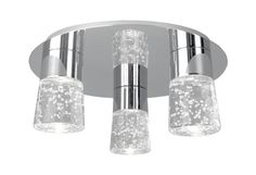 Three Lamp LED Ceiling Fixture with Bubble Encased Crystals