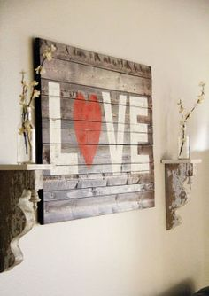 23 Romantic Valentine's Day DIY Love Signs. Romantic Bedroom Ideas For Valentines Day Diy Artwork, Diy Wall Art, Wood Wall Art, Wall Decor, Brick Wall, Pallet Crafts, Pallet Art, Wood Crafts, Diy Crafts