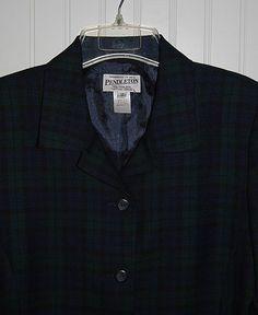 PENDLETON Women's 12 Worsted Wool Tartan Blazer Plaid Blue Black Green…