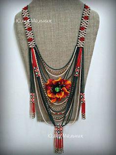 Yulia Melnik's photos Stylish Jewelry, Boho Jewelry, Beaded Jewelry, Beaded Necklace, Unique Jewelry, Bead Loom Designs, Beadwork Designs, Cool Necklaces, Handmade Necklaces
