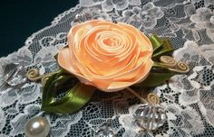 Ribbon flowers: rose from the narrow ribbon/Цветы из лент: роза из узкой...