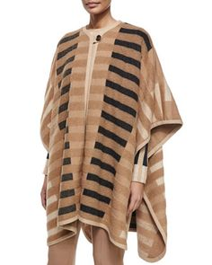 Mixed-Tone+Striped+Blanket+Cape+by+Escada+at+Neiman+Marcus.