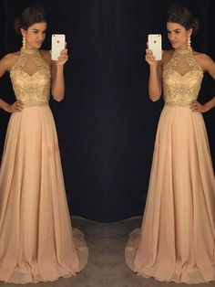 Sexy Prom Dresses High Neck Rhinestone Chiffon Long Prom Dress/Evening Dress JKL297