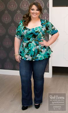 "Jennifer (5'6"") looks like a tropical dream in our plus size Posh Ponte Peplum Top.  www.kiyonna.com"