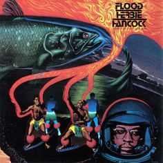"""Supercool looking cover for Herbie Hancock's """"Flood."""" It's got a bit of a Mati Klarwein feel, but I don't think he's behind it. Love that salmon."""