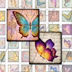 Spring Butterflies Collage Sheet  Instant by calicocollage on Etsy, $4.15