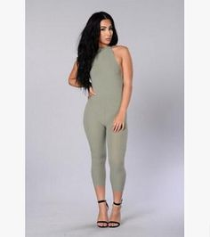 0fc113688a59 New Batoneur Women s Sexy Halter Cotton Knitted Summer Bodysuit Sexy  Stretch Backless Overalls Club One Piece Rompers S-XL