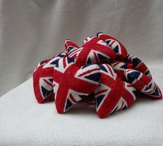 10 Union Jack Hearts  handmade padded hanging by BringMeSunshine7