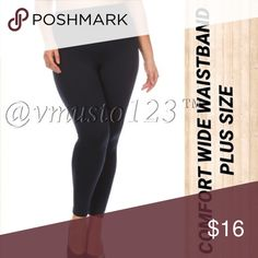 "PLUS  NAVY WIDE WAISTBAND FLEECE LEGGING ‼️PLUS SIZE ONLY‼️ AMAZINGLY COMFORTABLE FLEECE LEGGING - NAVY  I've never felt a more comfortable waist band!   Super soft, High waist fleece leggings with thick wide band for incredible tummy control!!!  95% Polyester, 5% Spandex  One size fits plus fits size  12-18  Inseam fits 26-33  *This model is wearing size Plus Size. *Measurements are 40Dx38x45 and height is 5' 10"" (177.8 cm) ValMarie Boutique Pants Leggings"