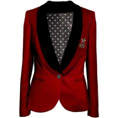 Red tailored womens blazer jacket by FemmeDeRose on Etsy ($310) ❤ liked on Polyvore