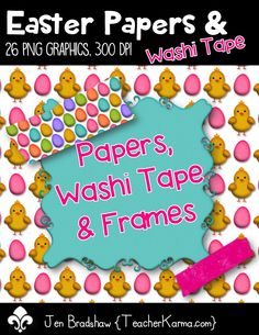 Easter papers, washi tape, and frames.  There are 26 png graphics created at 300 dpi.  The Spring clip art is perfect for your teaching products or scrapbook designs.  Commercial or personal use is ok.  TeacherKarma.com