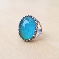 Sterling Silver Mood Ring Vintage Glass Mood Stone by TemporalFlux