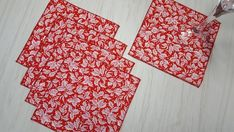Christmas Cloth Napkins Holly Berries on Red Cocktail Lunch 16 Inch Set of 5