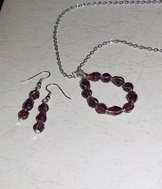 PurpleTrio  Necklace and Earring Set by SpareTimeDesignsMI on Etsy, $18.00