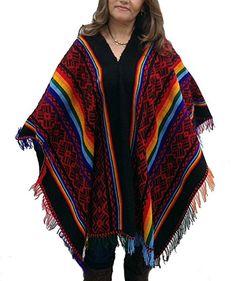 Damen Original peruanischer gestreifter Poncho Cape Umhang Einheitsgröße mehrfarbig mit Fransen