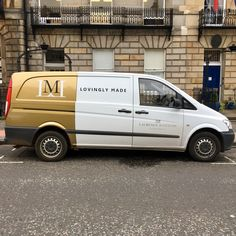 Laurence McIntosh / Lovingly Made - Particularly like the split colour scheme and the LM link throughout: Edinburgh, June 2017 Van Signwriting, Van Signage, Catering Van, Vehicle Signage, Car Prints, Commercial Van, Eco Friendly Cars, Van Wrap, Van Design