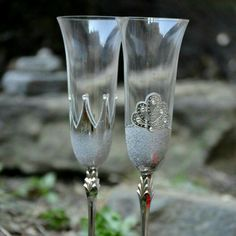 Excited to share the latest addition to my #etsy shop: Champagne flutes, King and Queen crown Glasses, Bride Groom Glass, Silver Wedding Flutes, Toasting Glasses, Mr and Mrs Wedding Glasses #weddings #weddingglass http://etsy.me/2iVouhe