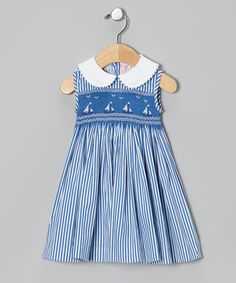 Take a look at this Blue Stripe Smocked Sailboat Dress - Infant, Toddler & Girls by Emily Lacey on #zulily today!
