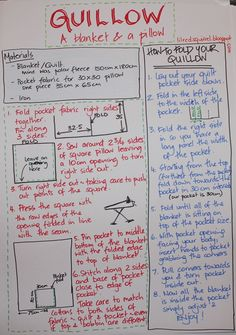 Written instructions for making your own quillow