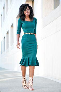 Green Frill Midi Dress
