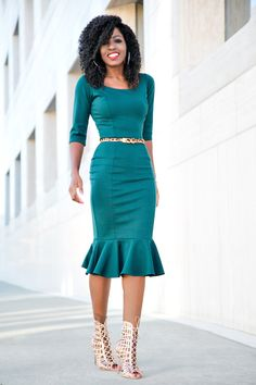 Green Frill Midi Dress