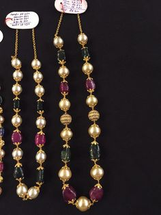 Pearl Necklace Designs, Beaded Jewelry Designs, Gold Earrings Designs, Gold Jewellery Design, Bead Jewellery, Gold Jewelry, Pearl Jewelry, Jewelery, Gold Mangalsutra Designs