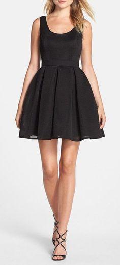 Knit Mesh Fit & Flare Dress
