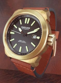 Switszer a Blancier sister brand. A solid bronze case and inside a Swiss Valanron automatic movement.