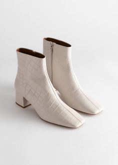 Croc Embossed Leather Square Toe Boots - White - Ankleboots - & Other Stories Stilettos, Cow Leather, Leather Shoes, Paris Texas, Square Toe Boots, White Boots, Looks Style, Jimmy Choo, Block Heels