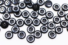 Black Shiny Button Shell Looking Resin by boysenberryaccessory