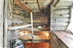 Sauna made of dead standing trees Saunas, Ladder Decor, Interior Decorating, Toilets, Bathrooms, Trees, House, Home Decor, Steam Room
