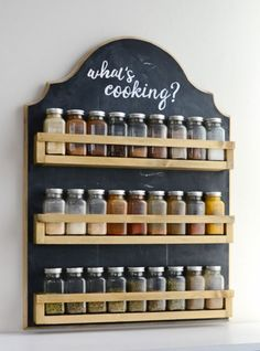 Free up your counters and cabinets with this beautiful wooden spice rack. It's t… Free up your counters and cabinets with this beautiful wooden spice rack. It's the perfect farmhouse kitchen decor and so easy to make. Diy Spice Rack, Kitchen Spice Racks, Wooden Spice Rack, Diy Kitchen Storage, Diy Kitchen Decor, Easy Home Decor, Farmhouse Kitchen Decor, Interior Design Kitchen, Kitchen Furniture