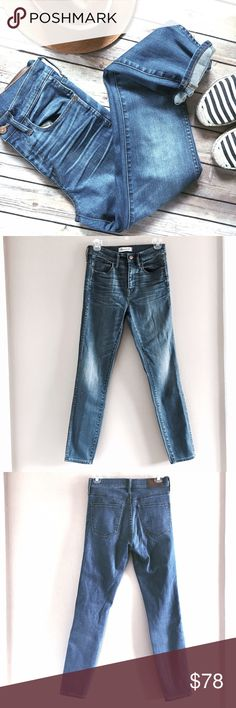 """NWOT Madewell 10"""" High Rise Skinny Jeans Rosedale Our favorite lean and sexy style with an extra-high 10"""" rise. This one's legs-for-days look and supersleek effect come from using best-of-the-best denim.    Premium 92% cotton/6% elastomultiester/2% elastane denim from Italy's Candiani mill. Bright '70s-inspired indigo wash with subtle hand distressing. Copper button, thread bar tacks, contrast stitching with double-needle detail. Sit above hip, fitted through hip and thigh. Front rise: 10""""…"""